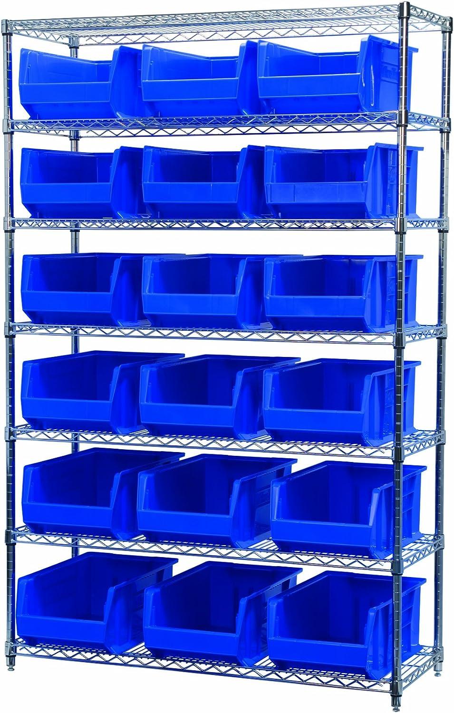 B00DRAV5XG Akro-Mils AWS184830281B Wire Bin Shelving System with 7 Shelves and 18 Blue Supersize Akro Bins, 48-Inch x 18-Inch x 74-Inch, Chrome 81-9MnmJiQL.SL1500_