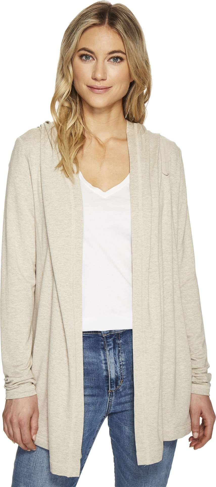 Michael Stars Women's Elevated French Terry Hooded Jacket with Thumbholes Oatmeal Small