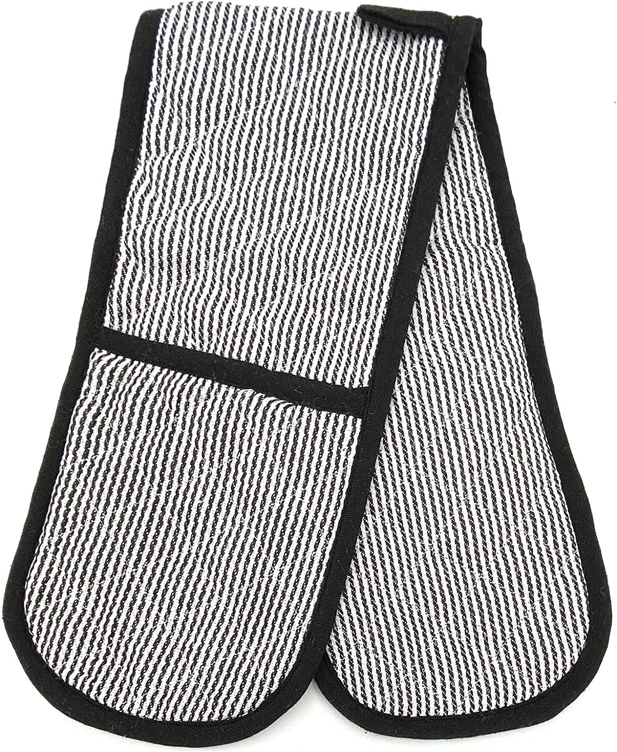 Gr8 Home Butcher Stripe Heat Resistant Thick Padded Double Oven Gloves Quilted Pinstripe Plain Kitchen BBQ Baking Mitts Black Plain Double