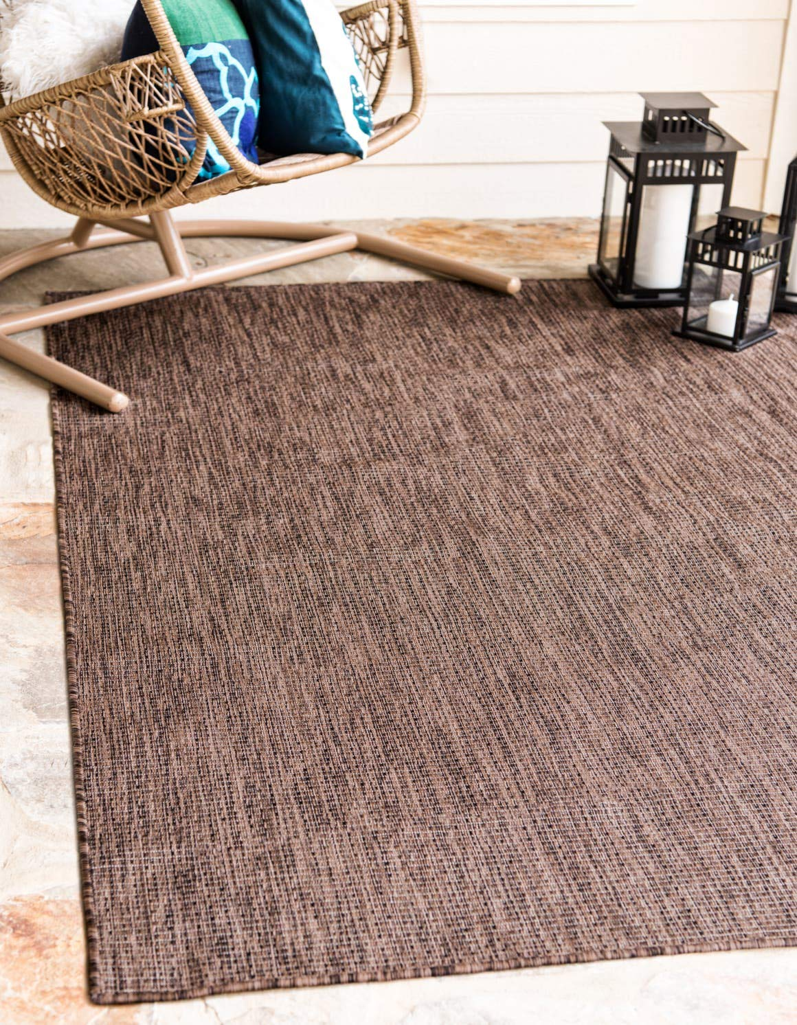 Unique Loom Outdoor Solid Collection Casual Transitional Indoor and Outdoor Flatweave Light Brown Area Rug 5 0 x 8 0