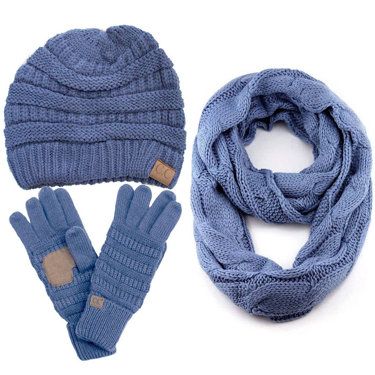 ScarvesMe CC 3pc Set Trendy Warm Chunky Soft Stretch Cable Knit Beanie, Scarves and Gloves Set