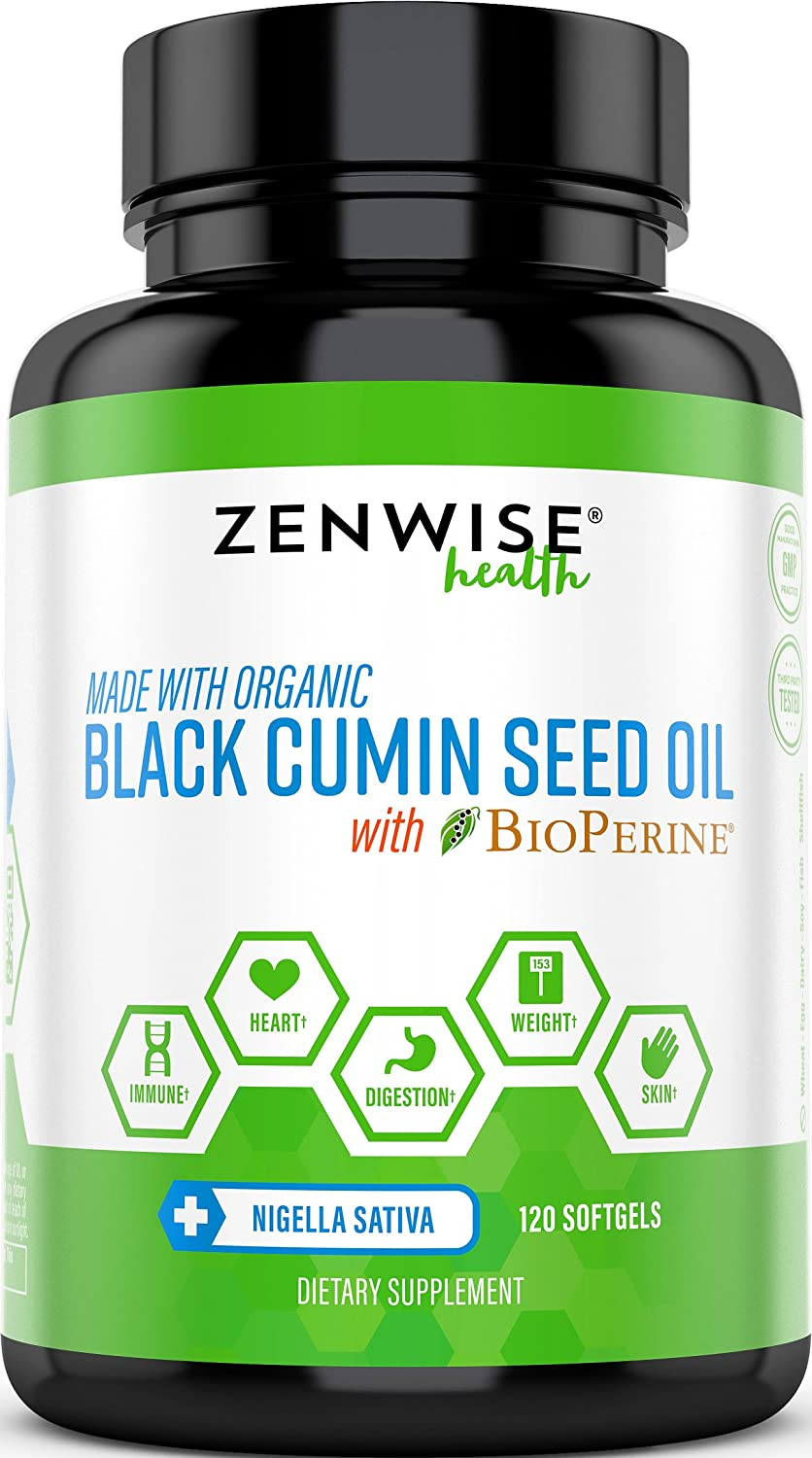 Black Cumin Seed Oil with BioPerine – Organic Cold Pressed with Omega 3 6 9 Fatty Acids – Antioxidant Immune System Booster – for Weight Loss Digestion Support – 120 Softgels