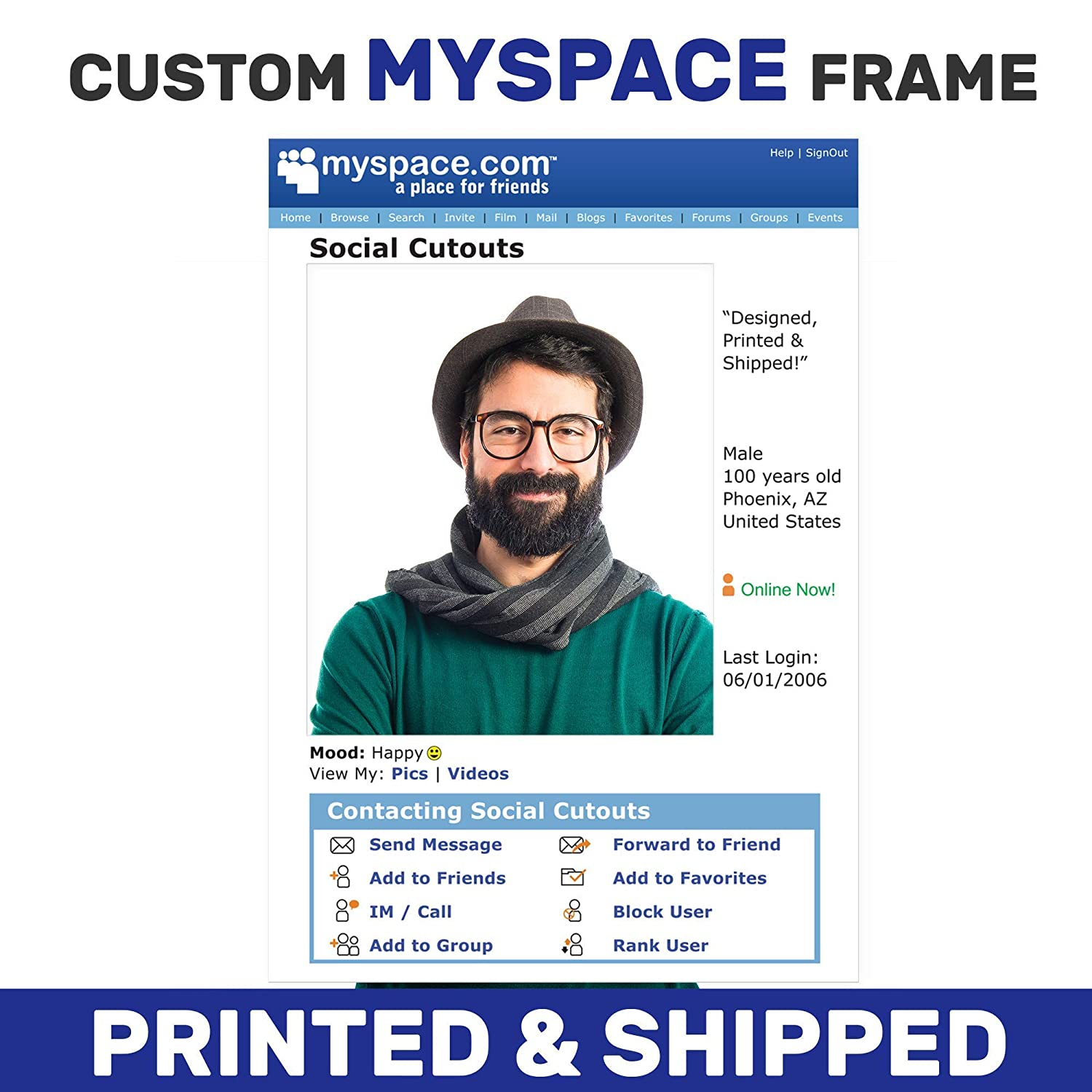 Amazon Com Personalized Myspace Photo Booth Prop Myspace Selfie Frame 2000 Themed Party Ideas Wedding Photo Booth Printed On Frame Handmade