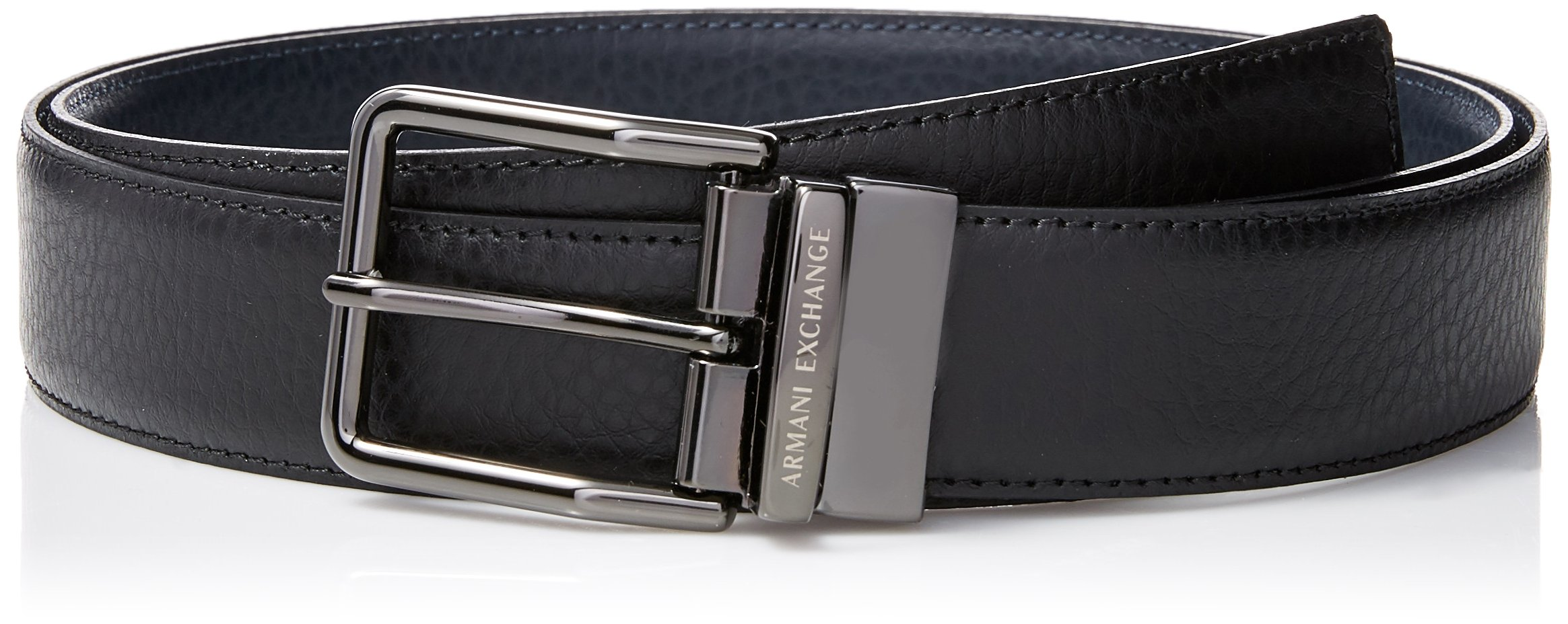 Armani Exchange Men's Cut to Fit Belt with 2 Buckels in a Box, Black/Navy, One Size