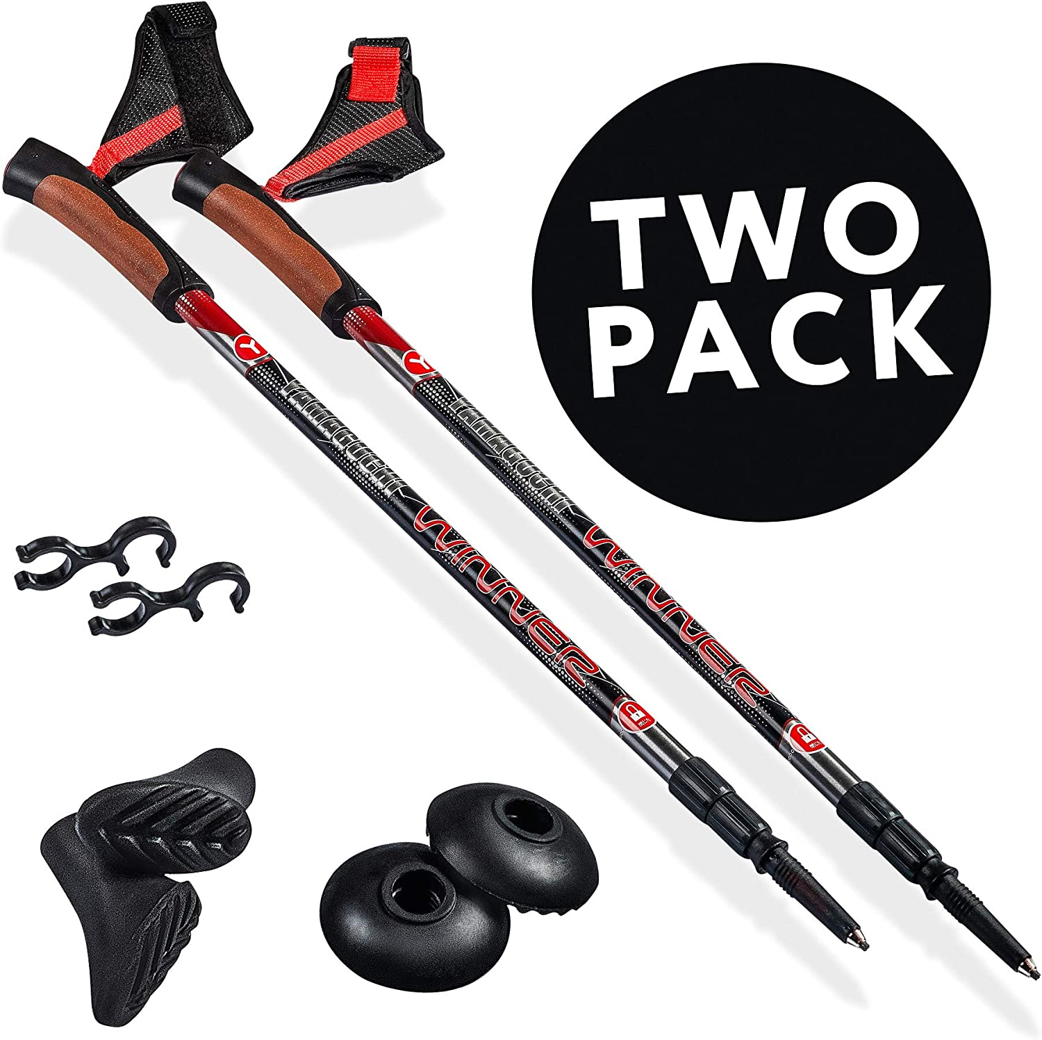 Walking Stick Hiking Poles Trekking Poles Trekking Poles Collapsible Lightweight Telescoping Pole 4 Seasons All Terrain Tips Twist Lock Walking Sticks For Women 2 Pack