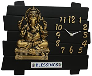 OM Collection Plastic Lord Ganesh Wall Clock(omwk-111, Black and Golden, 35x30cm)