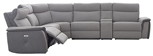 Homelegance Maroni 162 Two Tone Fabric Power Reclining Sectional Sofa, Gray