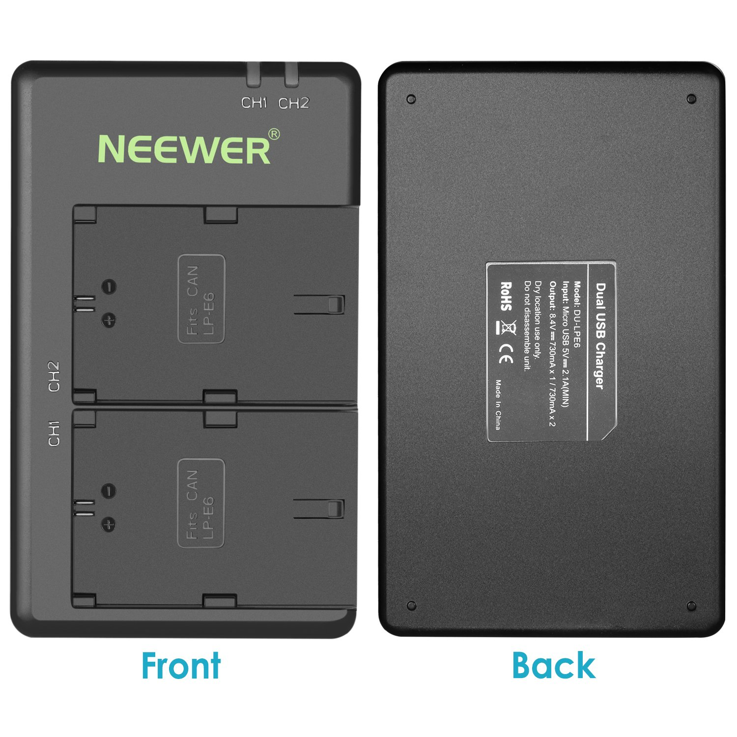 2-Pack 2000mAh Camera Batteries and Micro USB Input Dual Charger, 100/% Compatible with Original, Safety Protections Neewer LP-E6 LP-E6N Replacement Rechargeable Battery Charging Set for Canon
