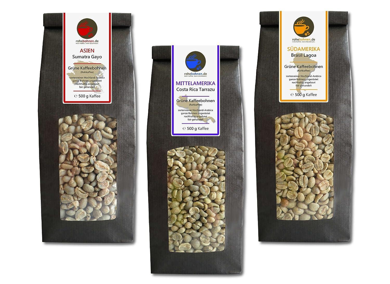 Sparpack Rohkaffees Sumatra, Costa Rica und Brasilien Arabica