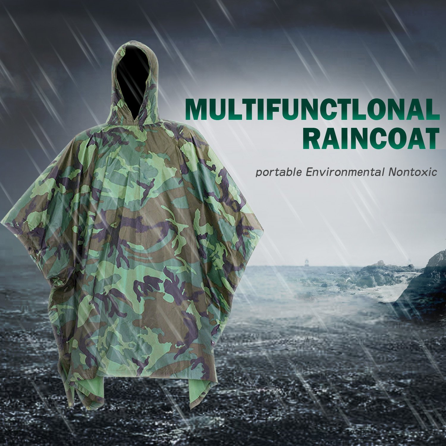 Poncho Lluvia Impermeable by DigHealth, Militar Camuflaje de Color ...