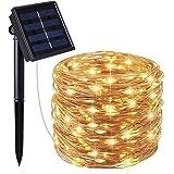 2 عبوات من مصابيح خيط الطاقة الشمسية، 200 LED ضوء سلك نحاسي مقاوم للماء لتزيين الحدائق وفناء المنزل وحفلات الزفاف وأعياد الميلاد في الأماكن المغلقة والخارجية (أبيض داكن)