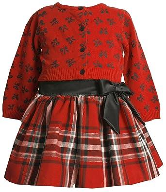 25d9b56a0497 Amazon.com  Bonnie Jean Size-24M BNJ-6513B 2-Piece RED BLACK Plaid ...