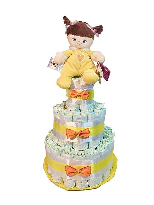Tarta de pañales DODOT Muñeca amarillo: Amazon.es: Bebé