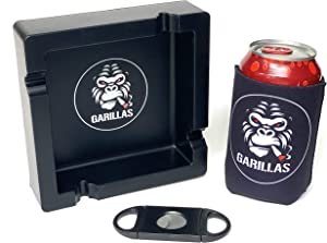 GARILLAS Unbreakable Cigar Ashtray With Cutter & Cool Drink Hugger - Heavy Duty Easy To Clean | Cigar Ashtrays Silicone Ashtray Outdoors Fancy Ashtray Cigarette Ashtrays Black | Gorilla Cigar Accessories Gift Men And Women