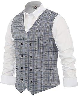 PaulJones Homme Gilet Costume Double Boutonnage Veste sans Manche à Carreau 7d28483d0ee5