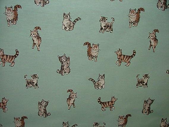 Cortina de tela con diseño de gatos y gatitos, tapicería romana para manualidades, Per Full Metre: Amazon.es: Hogar