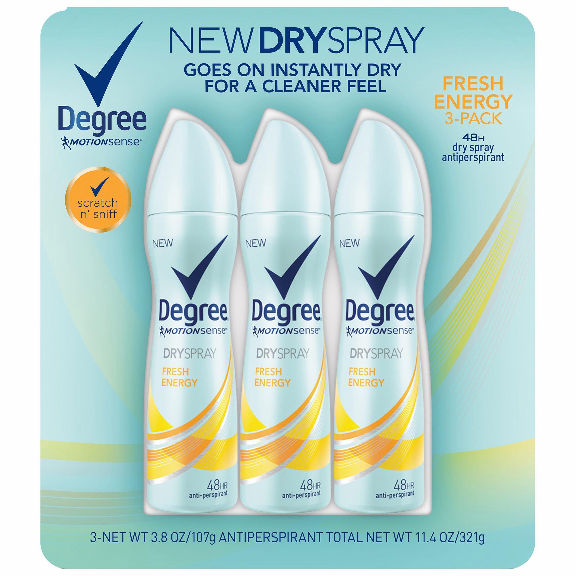 Degree MotionSense Dry Spray Fresh Energy Antiperspirant, 3 pk./3.8 oz. (pack of 6)
