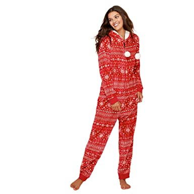 8b3bd11346bc Lounge   Sleep Womens Petite Red Fair Isle Print Fleece All in One Jumpsuit  from Debenhams