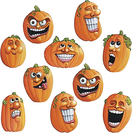 Beistle 4-1/2-Inch Wacky Jack-O-Lantern Cutouts for Halloween, Mini