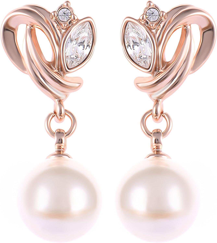 Pendientes de perlas de diseño premium con acabado de oro de 18 quilates, para mujer, caja de regalo, boda, boda, cumpleaños, Navidad, aniversario, día de la madre