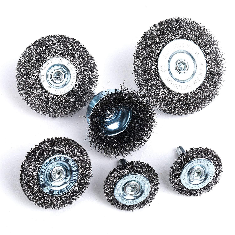 Crimped Wire Wheel /& Cup Brush Set with 1//4In Shank 6Piece Wire Wheel /& Cup Brush Set LTD Drill Accessory Kit,HOYIN ZHEJIANG YONGKANG HUAYANG CO