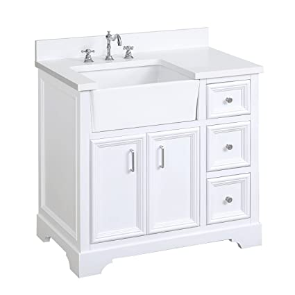 Zelda 36-inch Bathroom Vanity (Quartz/White): Includes a ...