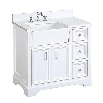 Zelda 36 Inch Bathroom Vanity Quartzwhite Includes A Quartz