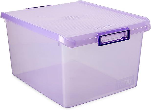 TATAY Caja de Almacenamiento Multiusos con Tapa, 35 l de Capacidad, Plástico Polipropileno Libre de BPA, Lila Translúcido, 37.7 x 47.5 x 26 cm: Amazon.es: Hogar