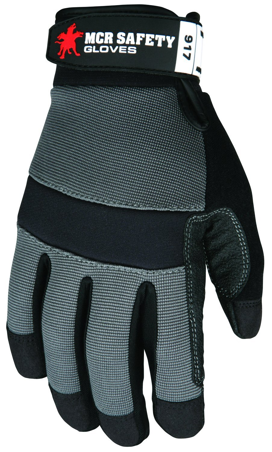 Rough Pvc Coated Material Reinforced Palm 3X-Large MCR Safety 917XXXL Multi-Task Gloves Adjustable Wrist Closure Dupont Kevlar Lined Gray Spandex Back Synthetic Leather Palm 1-Pair