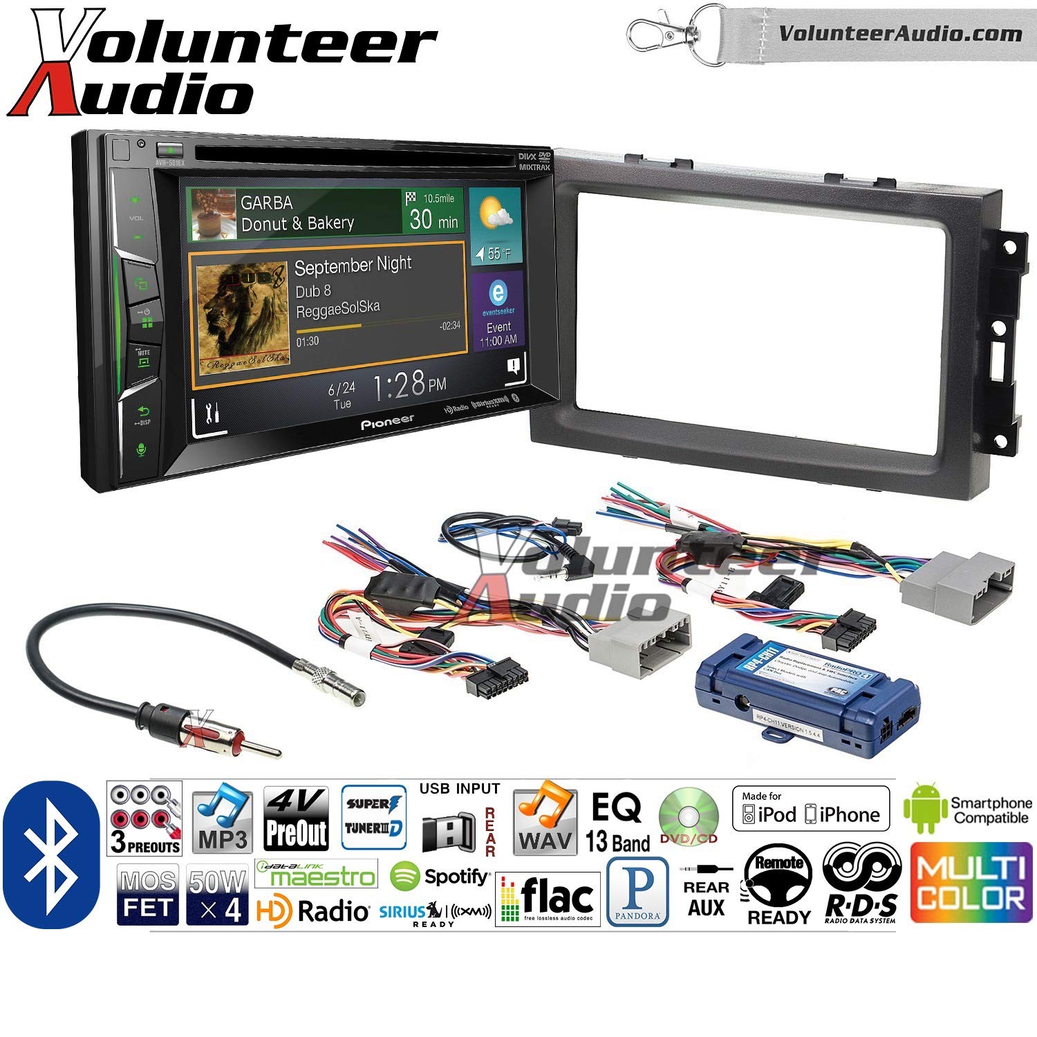 Volunteer Audio Pioneer AVH-501EX Double Din Radio Install Kit with DVD/CD Player Bluetooth Fits 2007-2008 Ram, 2006-2007 Chrysler 300 (Retains steering wheel controls)