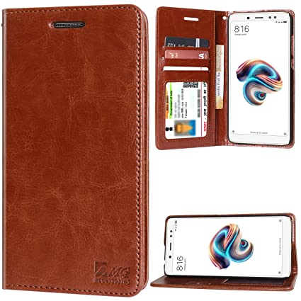 sale retailer 6efff 28fb3 DMG Redmi Note 5 Pro Flip Cover, Sturdy PU Leather Magnetic Wallet Book  Cover Case for Xiaomi Redmi Note 5 Pro (Latchless ID Brown)