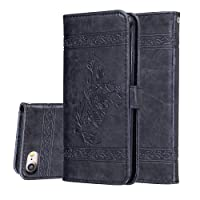 iPhone 8plus Case, Wallet Shockproof Card Holder with Kickstand Slim Leather Cover for iPhone 8 plus[with Free Tempered Glass Screen Protector]