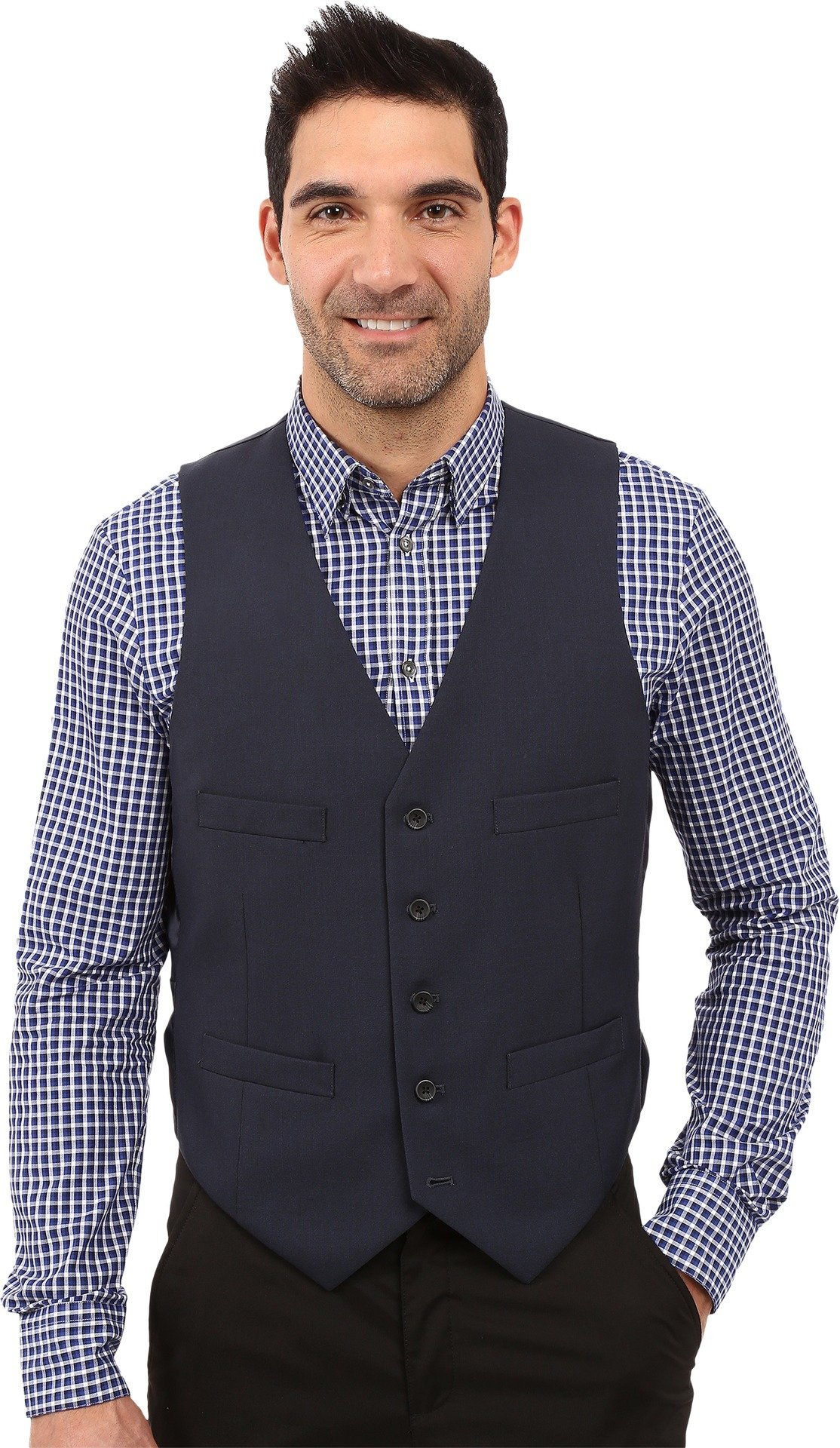 Kenneth Cole REACTION  Men's Slim Fit Separate Vest Blue Outerwear