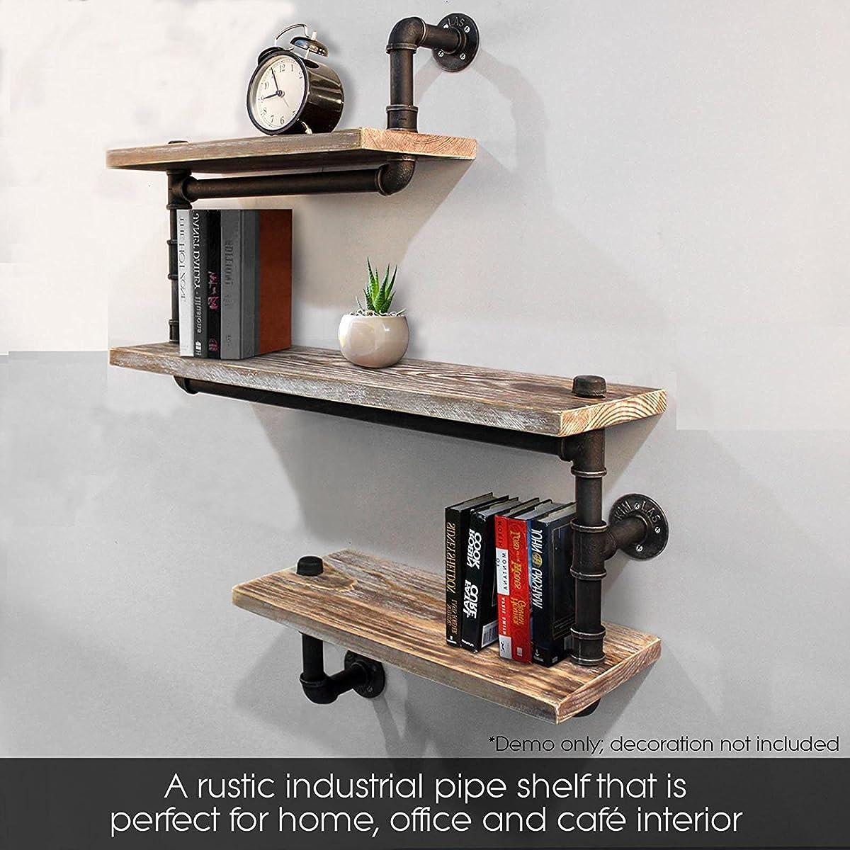 Industrial Pipe Shelving Bookshelf Rustic Modern Wood Ladder Pipe Wall Shelf 3 Tiers Wrought IronPipe Design Bookshelf Diy Shelving