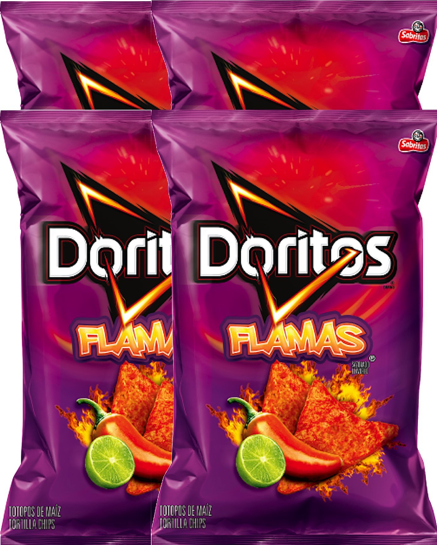 Doritos Flamas Flavored Tortilla Chips Net Wt 10 Oz Snack Care Package (4)