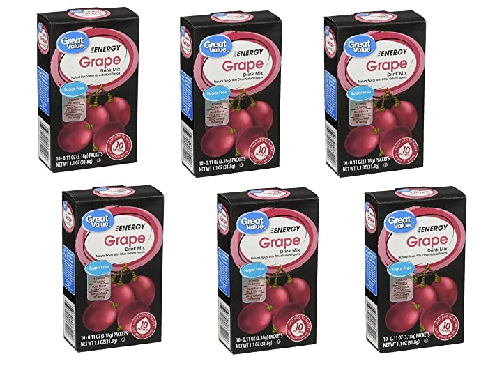 Great Value Grape Energy Drink Mix, 10ct (Pack of 6)