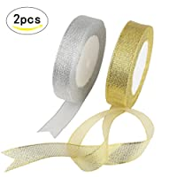 Organza Ribbon,KAKOO 2 Pack 25 Yard 20mm Wide Glitter Trimmings Decorative Ribbons for Gift Wrapping (gold&silver)