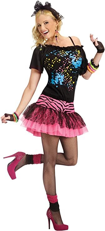 80s Costumes, Outfit Ideas- Girls and Guys Fun World Adult 80s Pop Party Costume X-Large BlackPink $29.99 AT vintagedancer.com