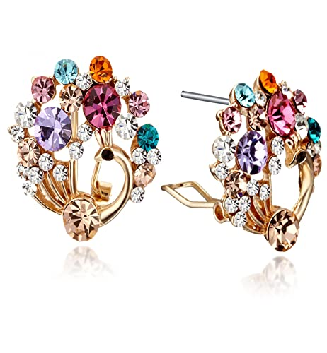 b5d1d30442d6bb GEMINI JEWELRY Women's Jewelry Colorful Crystal Rhinestone 18K Filled Peacock  Stud Earringss Gm142, Size: