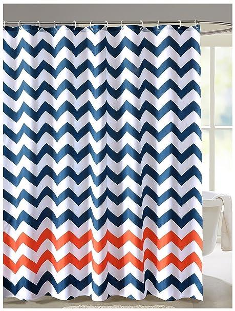 Amazon Geometric Fabric Shower Curtain Chevron Navy Blue