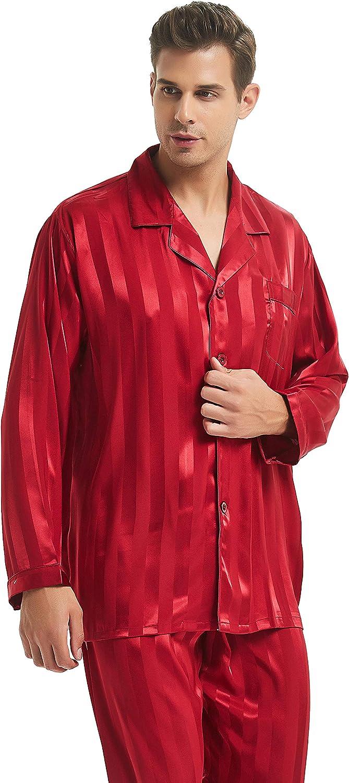 Mens Satin Long Button-Down Pajamas Set S M L XL 2XL 3XL 4XL