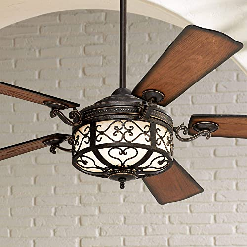 54 Hermitage Rustic Outdoor Ceiling Fan with Light LED Dimmable Remote Control Golden Forged Reversible Distressed Walnut Blades Damp Rated for Patio Porch – Casa Vieja