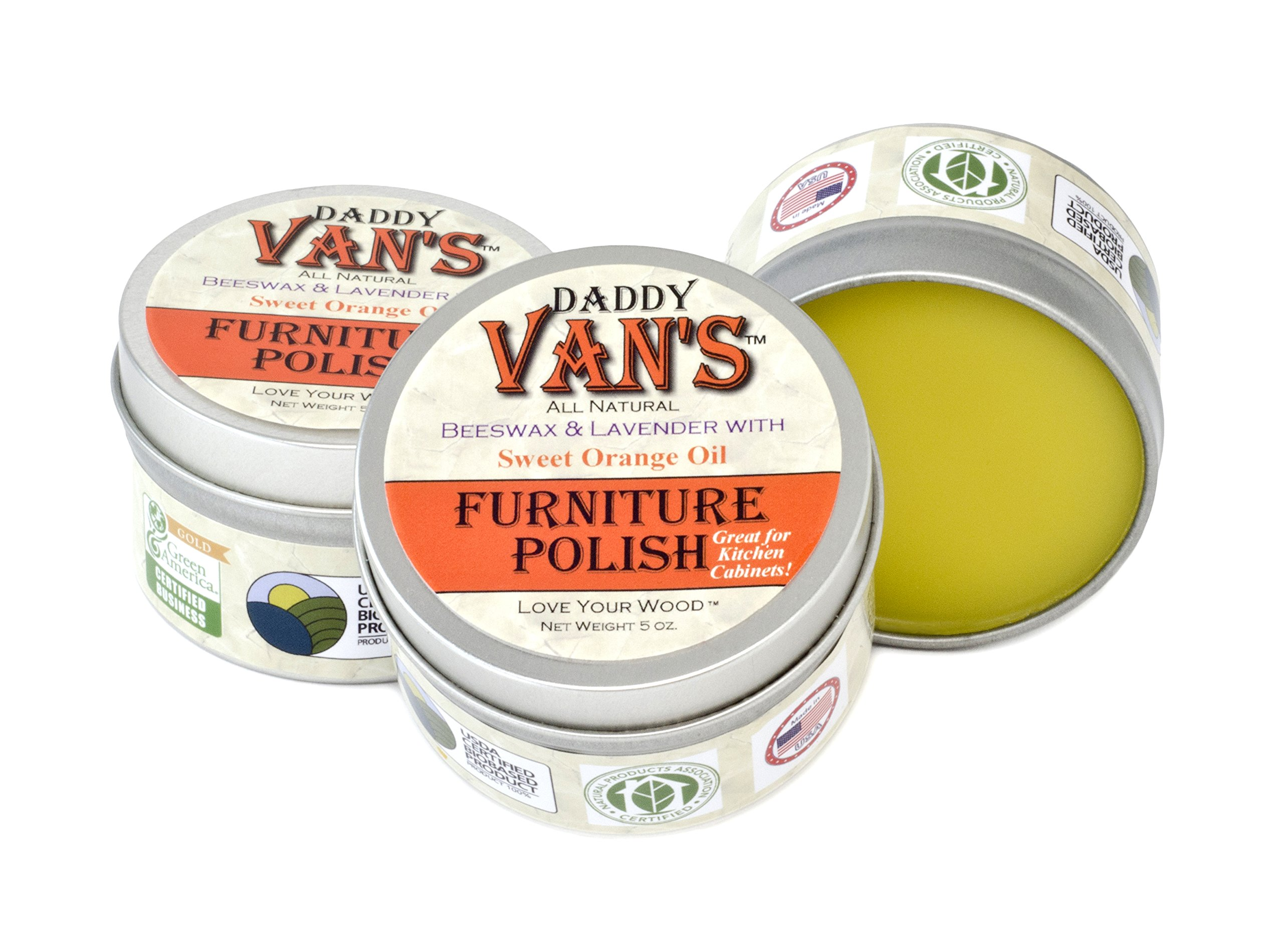 Daddy Van's All Natural Lavender & Sweet Orange Oil Beeswax Furniture Polish Chemical-free Wood Conditioner and Protectant. No Petroleum Distillates.