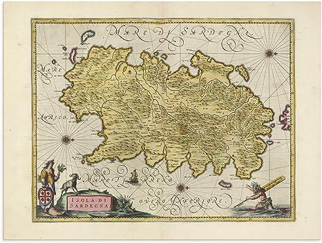 Cartina Antica Sardegna.The Blaeu Prints Corse Du Sud Sardegna Mappa Storica Stampa Da Atlas Antico Di Joan Blaeu Mostra Mappa Antica Cagliari Nugoro Nuoro Amazon It Casa E Cucina