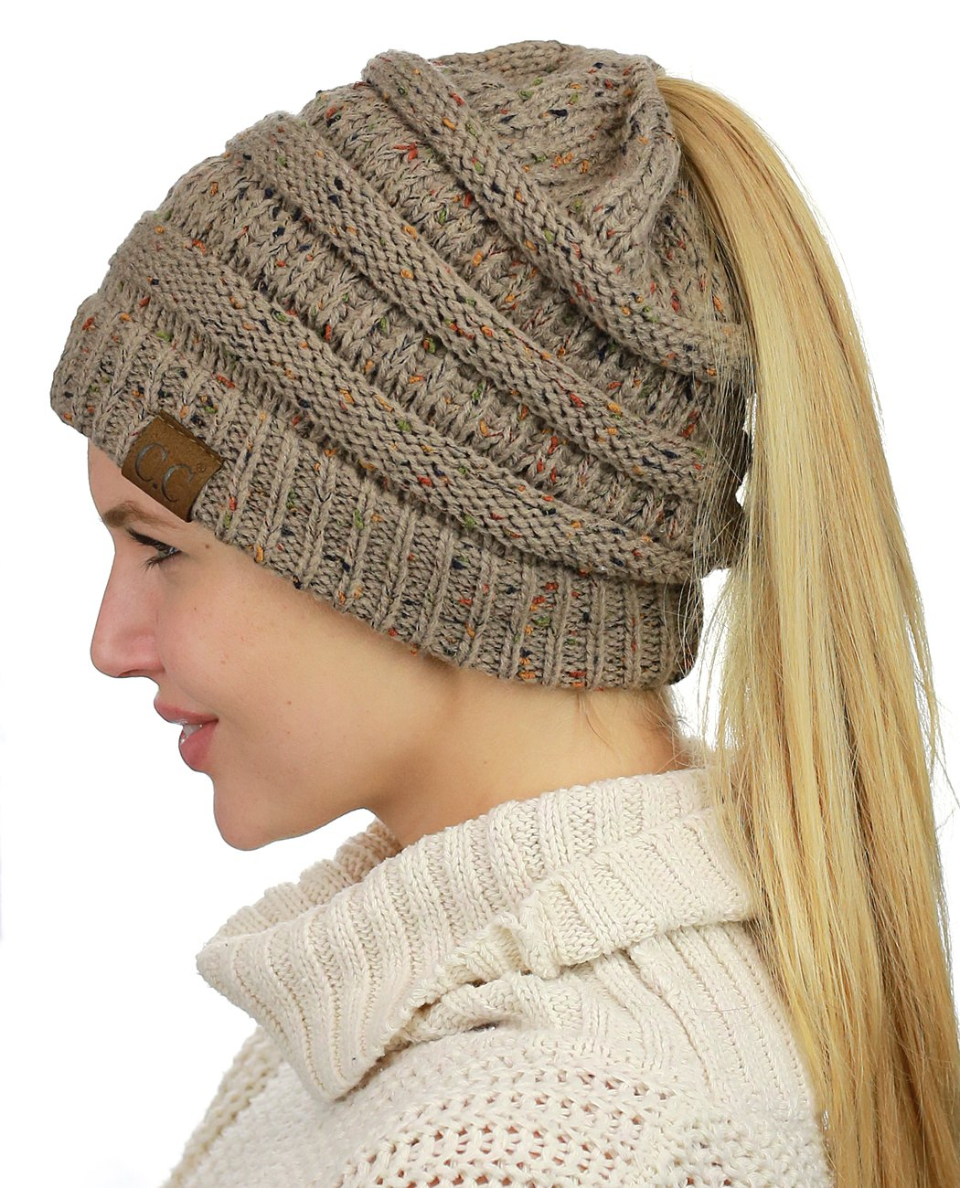 94d56bad3b3 C.C BeanieTail Soft Stretch Cable Knit Messy High Bun Ponytail Beanie Hat -  FBA CA MB33-TAUPE   Headwear   Clothing