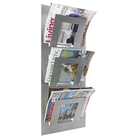 newspaper rack for office. Metallic Silver Wall Mounted Magazine Newspaper Rack By THE METAL HOUSE For Office
