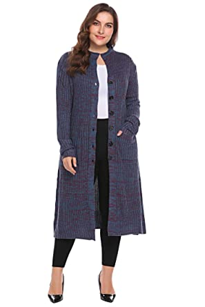 ee0189bab764f Involand Women Plus Size Casual Button Down Pocket Long Sleeve Rib Knit  Maxi Cardigan Sweater Dark