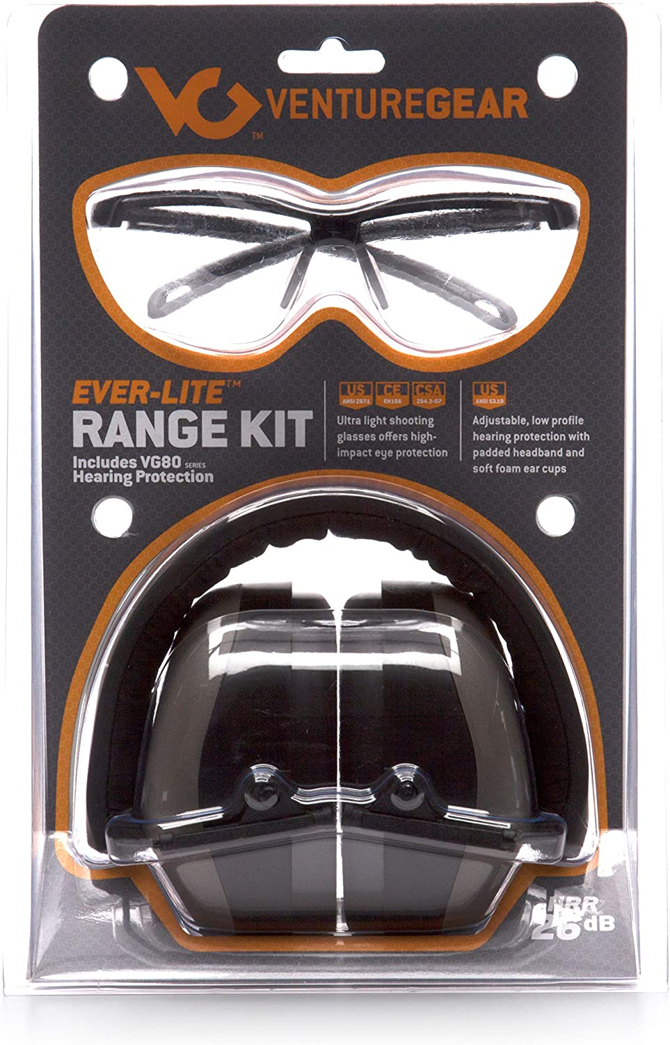 Venture Gear Shooting Glass and Hearing Protection Range Kit