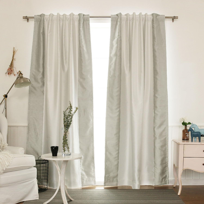 "Best Home Fashion Sideborder Faux Silk Blackout Curtain - Back Tab/ Rod Pocket - Grey - 52""W X 84""L - (1 Panel)"