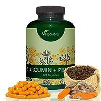 Curcuma + Piperin/Bioperin Extrakt Vegavero | 270 hochdosierte Kapseln | 95% Curcuminoide | Vegan und OHNE Zusatzstoffe | Optimale Wirkstoffkombination | Laborgeprüft | Curcumin + Piperin